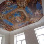 Матовый натяжной потолок с фотопечатью в спальне. / Натяжные потолки в Николаеве. /