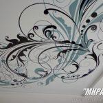 Белый сатиновый натяжной потолок с векторной фотопечатью. / Натяжные потолки в Николаеве. /