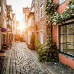 Германия, улица, старый город, закат, фотообои на заказ в Николаеве