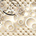 3д фотообои, цветы, круги, бриллианты, мягкий фон, драпировка
