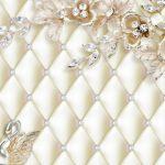 3д фотообои, цветы, брошь, лебеди, бриллианты, мягкий фон, драпировка