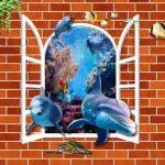 3д фотообои, окно, дельфины, кирпичная стена, рыбки