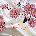 3д фотообои, ткань, атлас, цветы