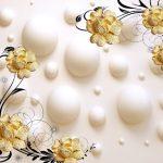 3д фотообои, шары на стене, цветы, украшения