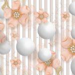 3д фотообои, шары и полосы на стене, цветы, украшения
