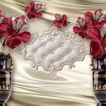 3д фотообои, украшения, цветы, атлас, египетские вазы