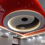 """Лак 462 (красный) и фотопечать Инь Ян на матовом потолке. Кафе в """"ДМ Спорт"""","""