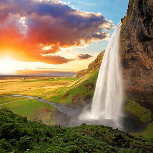 G 0-010 Природа, пейзаж, фотообои по индивидуальным размерам. Долина, гора, водопад, закат. Исландия.